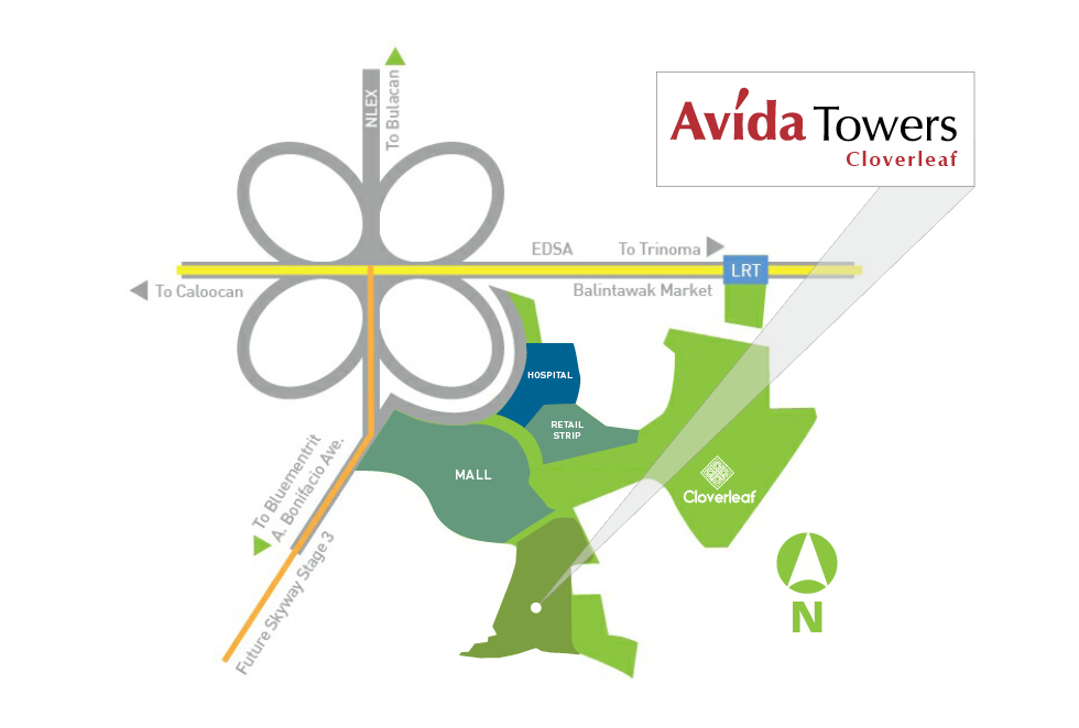 Avida Towers Cloverleaf  - Location Map