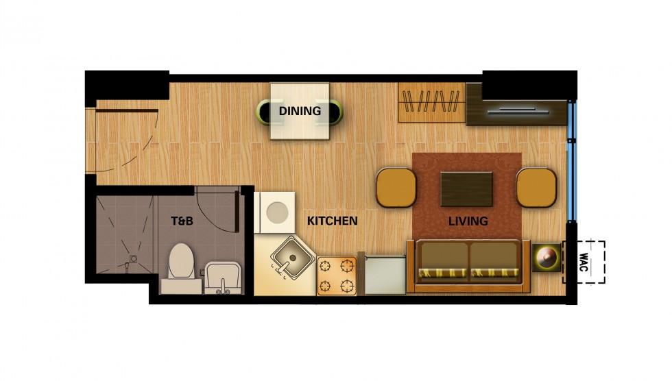 Avida towers davao condominium for sale in davao city for Studio type condo floor plan