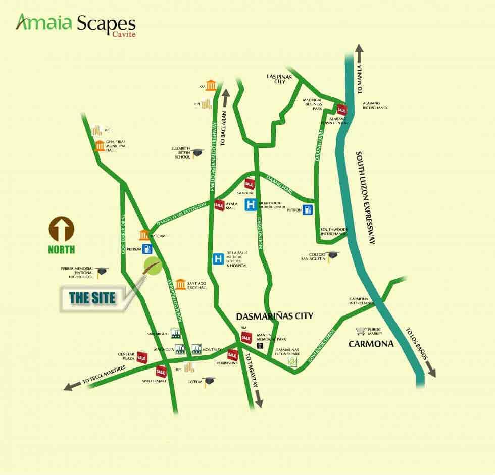 Amaia Scapes Cavite - Location & Vicinity