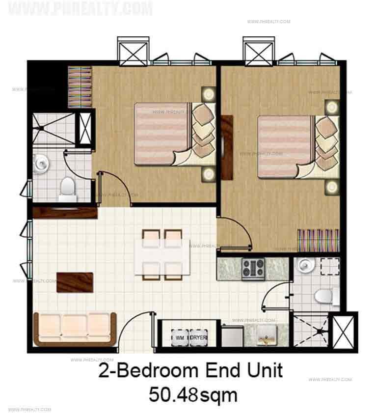 Mezza ll Residences - 2 Bedroom End Unit