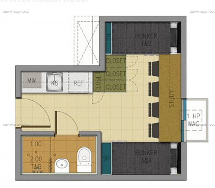 Space U Belt - 17 SQM Unit Layout