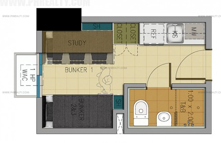 Space U Belt - 14 SQM Unit Layout