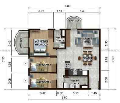 88 Gibraltar - 3BR Unit Model C
