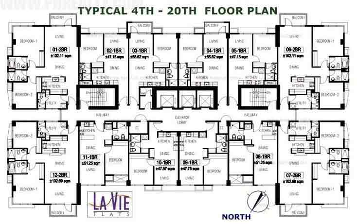 La Vie Flats - Typical 4th-20th Floor plan