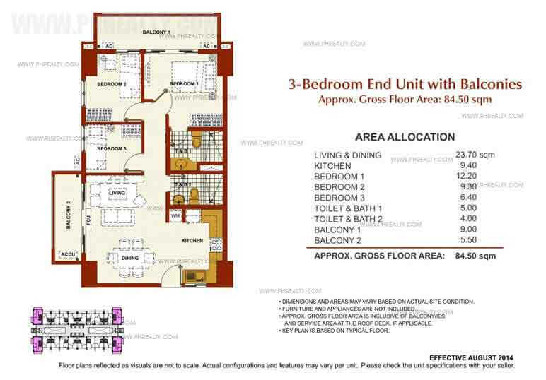 Brio Tower - 3 Bedroom End Unit With Balconies