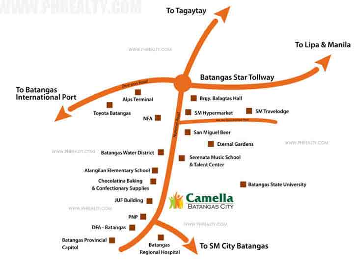 Camella Batangas City - Location & Vicinity