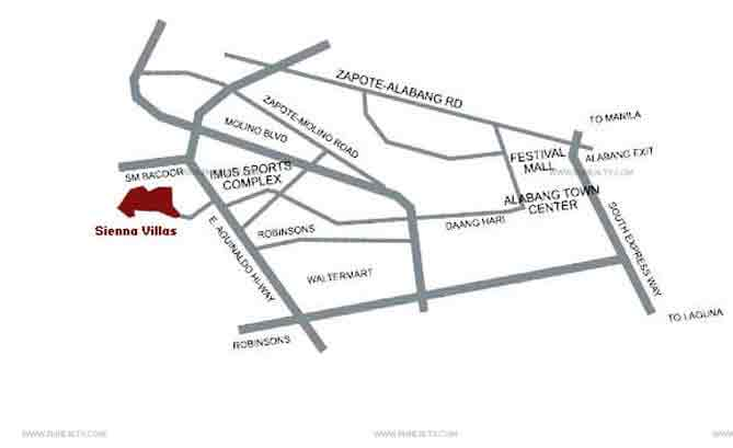 Sienna Villas Bacoor - Location & Vicinity