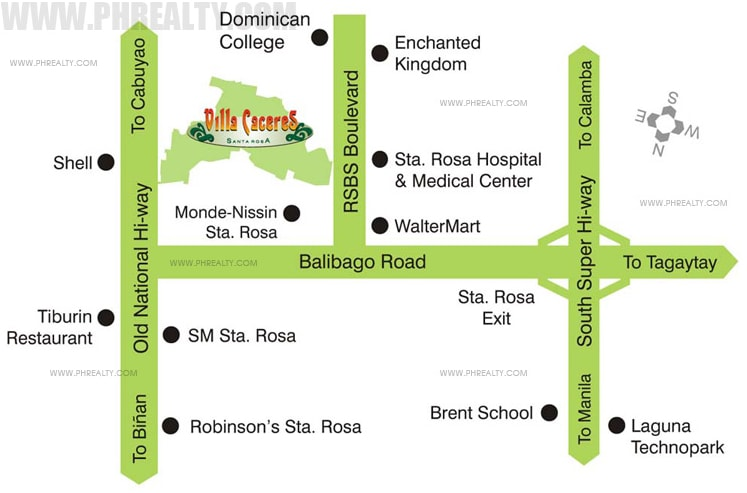 Villa Caceres - Location Map