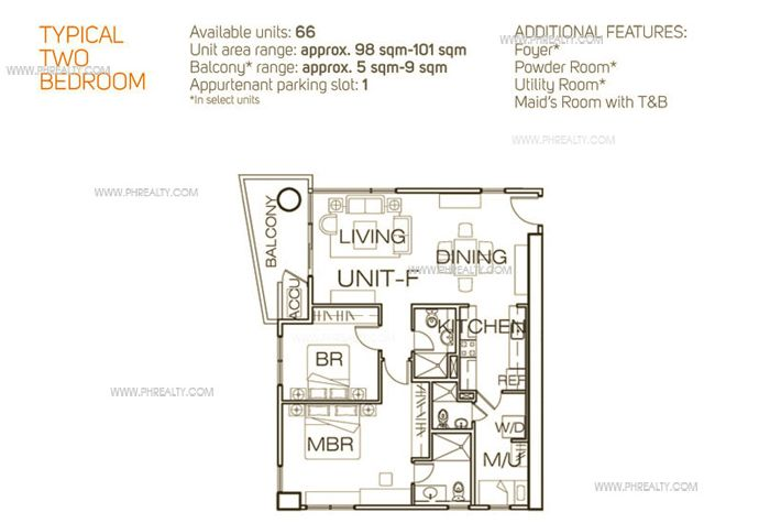 1322 Golden Empire Tower  - Unit Plan Typical 2 Bedroom