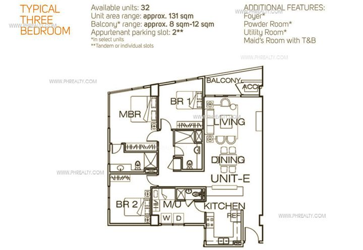 1322 Golden Empire Tower  - Unit Plan Typical 3 Bedroom
