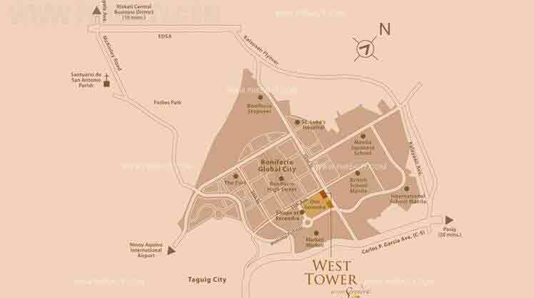 West Tower - Location Map