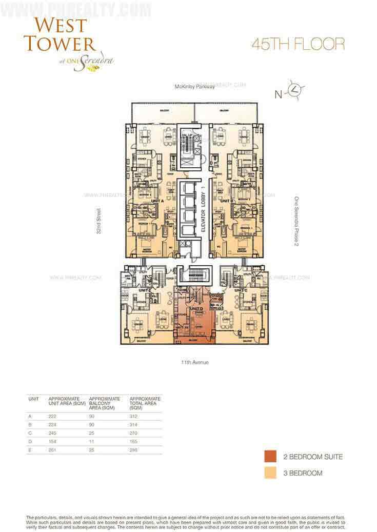 West Tower - 45th Floor Plan