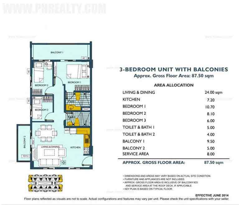 Asteria Residences - 3 Bedroom Unit With Balconies