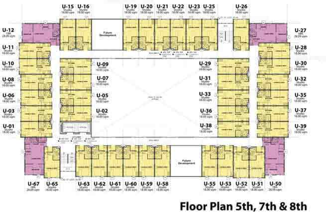 Stanford Suites - 5th, 7th & 8th Floor Plan