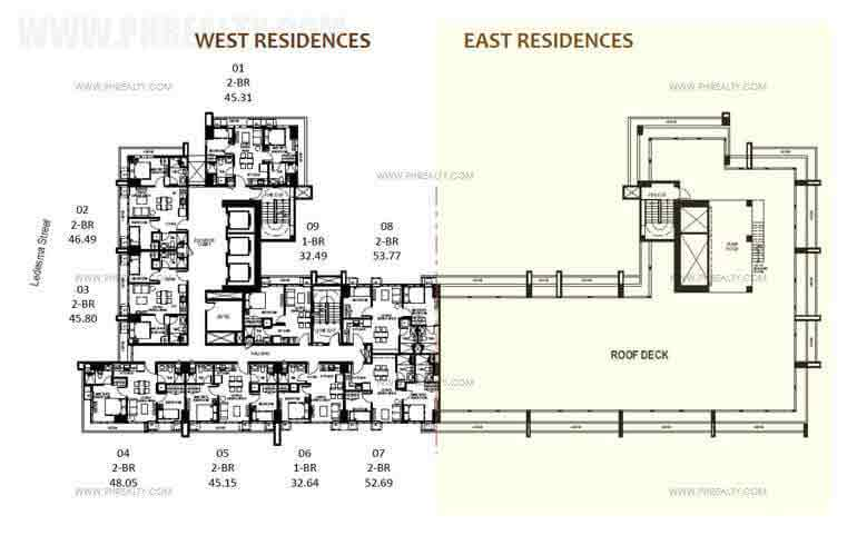 Mango Tree Residences  - Penthouse Level - Unit Layout Two Bedroom Suites Master Plan  Typical 35th-37th Level
