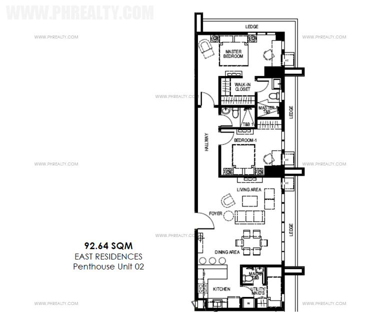 Mango Tree Residences  - Penthouse Level - Unit Layout Two Bedroom Suites