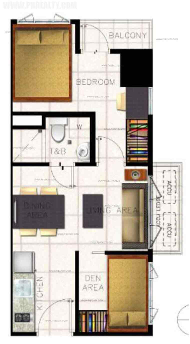 The Ellis Makati - Product Unit Lay-outs 1 BR End Unit With Balcony