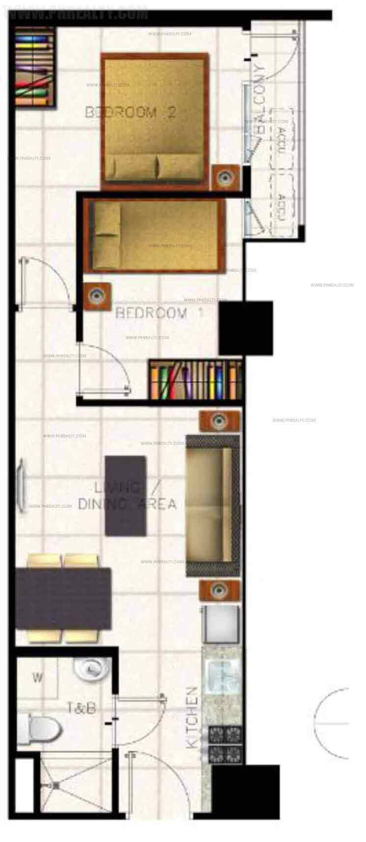 The Ellis Makati - Unit Lay-outs 2 BR Unit With Balcony