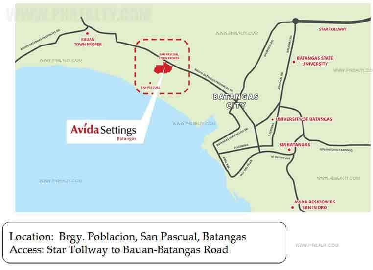 Avida Settings Batangas - Location & Vicinity