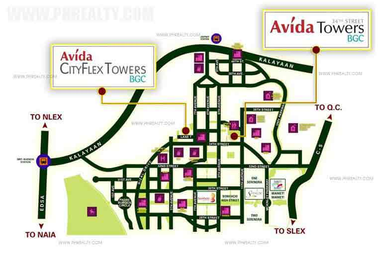 Avida Towers 34th Street BGC - Location & Vicinity