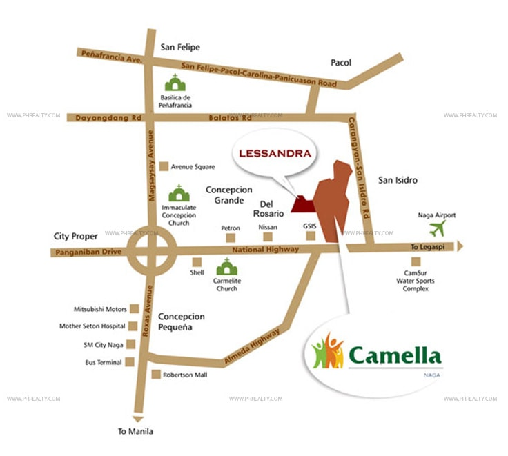 Camella Naga City - Location & Vicinity