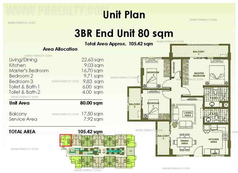 Accolade Place - End Unit Plan 3 - Bedroom