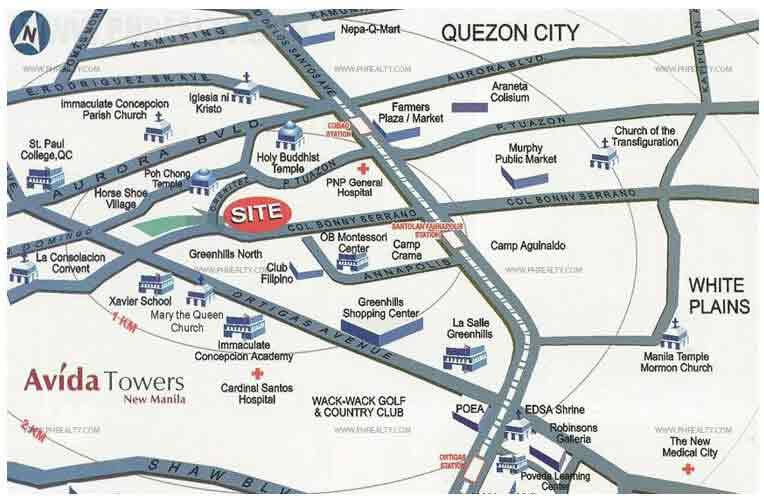 Avida Towers New Manila - Location & Vicinity