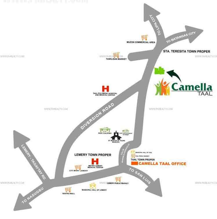 Camella Taal  - Location & Vicinity