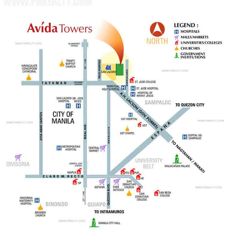 Avida Towers San Lazaro - Location & Vicinity