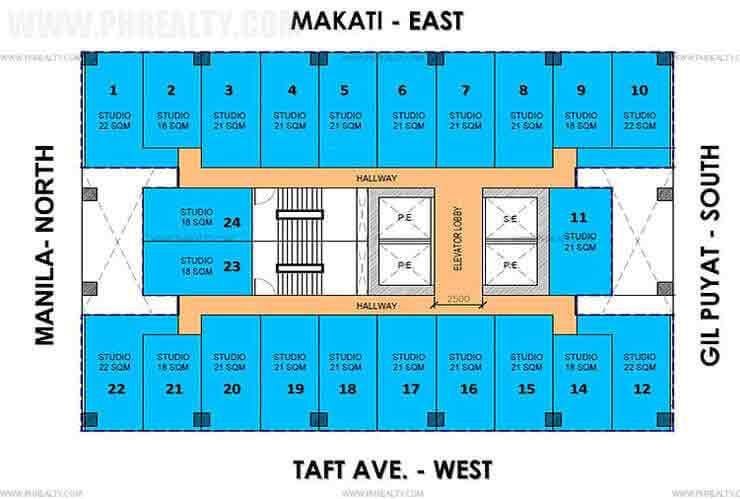 Vista Taft 1344 - Typical Floor Plan