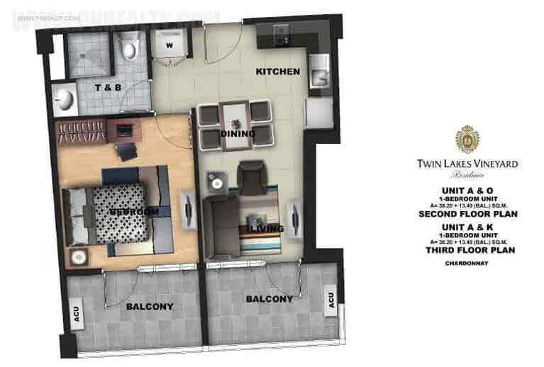 Twin Lakes - 1 Bedroom Unit