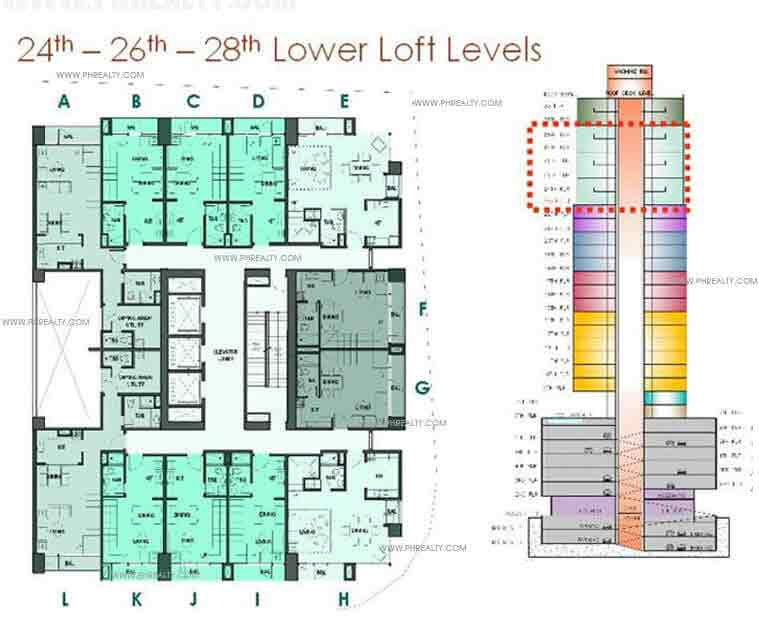 Mosaic at Greenbelt - 24th-26th-28th Lower Loft Levels