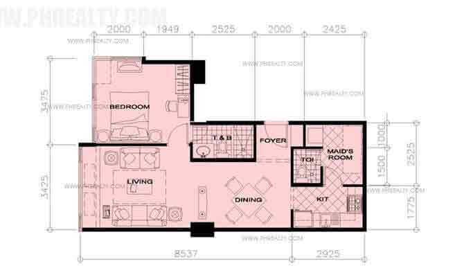 Two Central - 33rd Floor Plan - 1 BR
