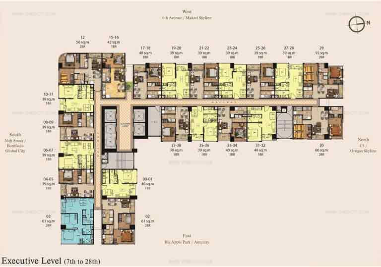 Madison Park West - 39th to 41st floor plan