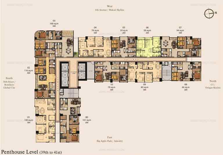 Madison Park West - 7th to 28th floor plan