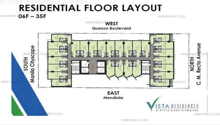 Vista Recto - 6th to 35th Floor Plan