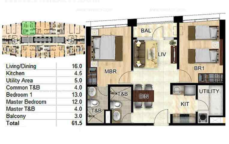 Bay Garden Club and Residences -  4-br unit layout