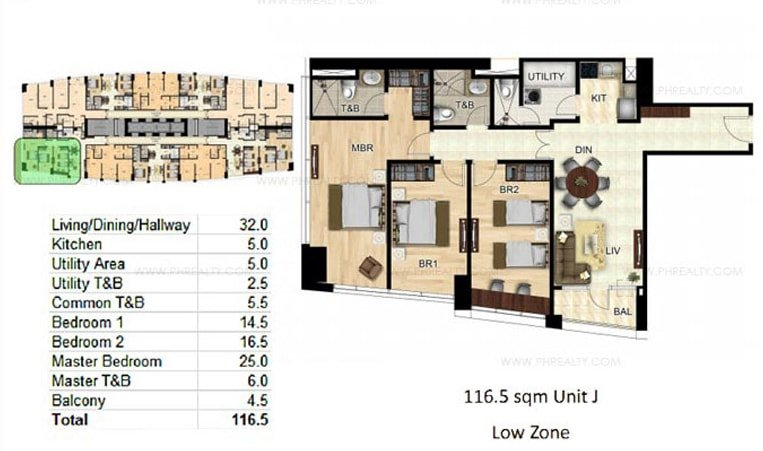 One Wilson Square - 3-BR Unit Layout
