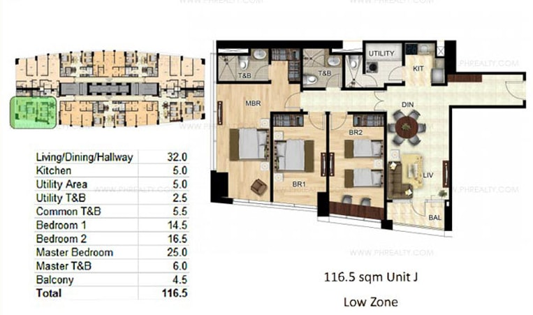 Bay Garden Club and Residences - 3-BR Unit Layout