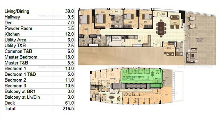 One Wilson Square - 2-BR Unit Layout
