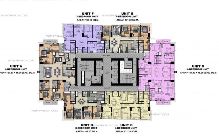Uptown Ritz Residence - Typical 40th - 45th Floor Plan