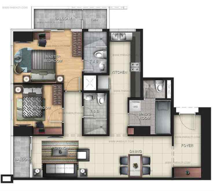 Uptown Ritz Residence - 2 BR Units A, B, F, G