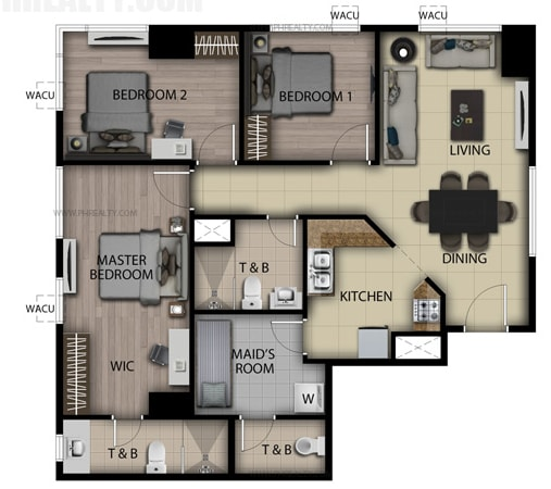 San Antonio Residences - 3 Bedroom Loft Unit