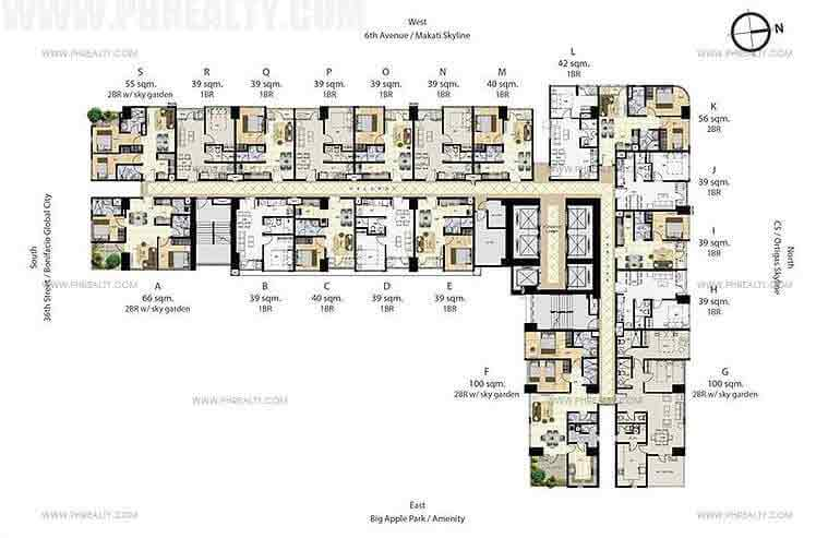 Times Square West - 7th-16th,20th-28th & 32nd-40th floor plan