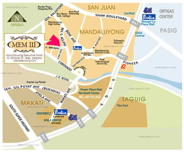 Mandaluyong Executive Mansion III - Location & Vicinity