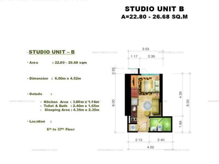 Congressional Town Center - Studio Unit B
