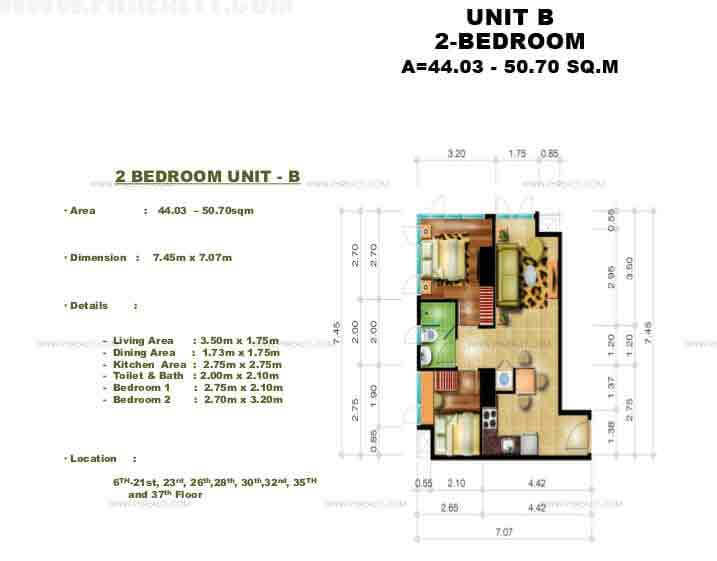 Congressional Town Center - 2 Bedroom Unit B