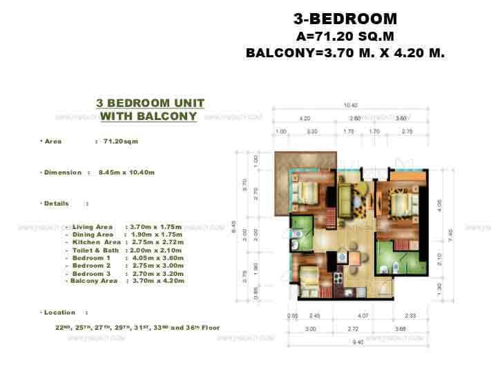 Congressional Town Center - 3 Bedroom