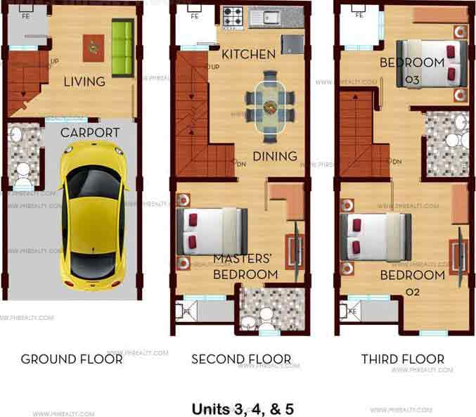 Demonteverde Townhomes II - Inner Unit Floor Plan