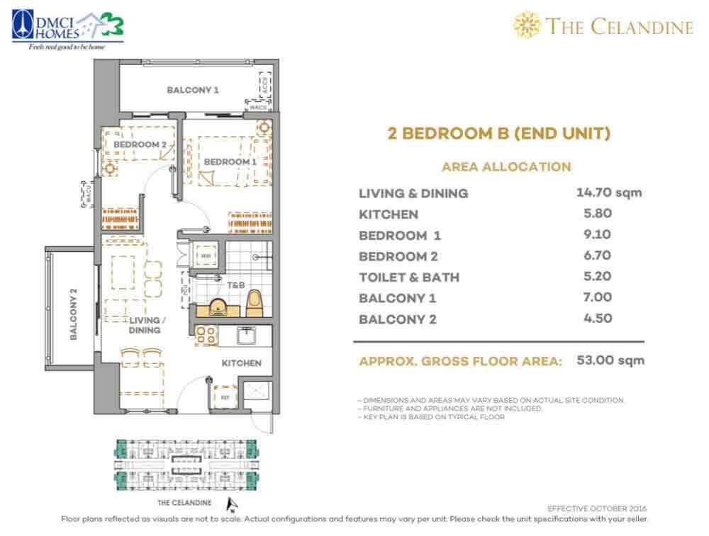 The Celandine Residences - 2 Br B End Unit